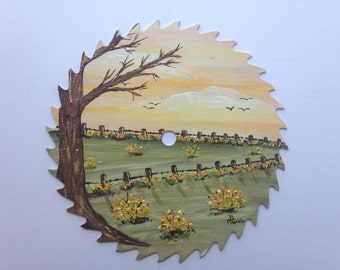 Saw Blade Large Hand Painted Circular Saw Blade Country Living Painted by Barbara Turbin One of a Kind