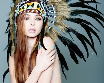 Native American Inspired Indian Headdress / Warbonnet Black Feathers (SH017), 26in