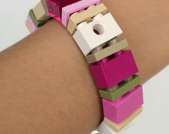 Pretty in Pink - 1 x 2 Bracelet made with LEGO® pieces- LEGO® Jewelry