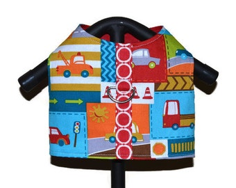 ROAD TRIP Dog Cat Harness Vest, Pet Apparel, Pet Clothes, Custom Pet Clothes, Small Dog Harness, Blue Red Dog Cars Vest, Boy Dog Clothes