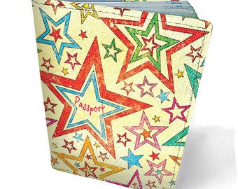 Leather passport cover - Passport holder - Genuine leather - Handmade passport cover - Original gift - Bright design - Star pattern - #010