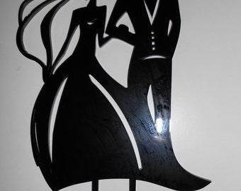 Black curvy dress wedding cake topper - free P&P
