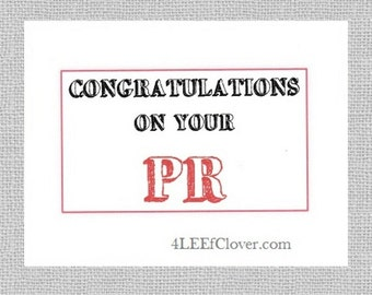 Congratulations Greeting Card for Runners - Congratulations on Your PR. Personal Record. Motivational card for a runner. Congrats on race PR