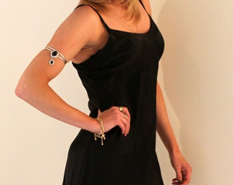 Vintage Black Silk Dress, Size MEDIUM
