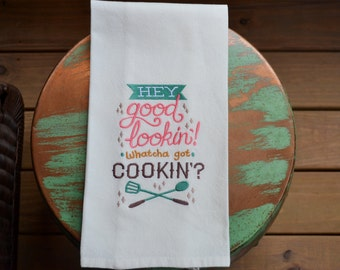 Embroidered Towel, Whatcha Got Cookin'?, Shipping Included!