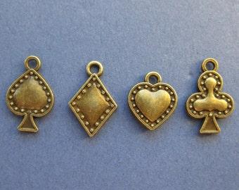 3 sets - Poker Charms - Card Charms - Poker Pendant - Club - Heart - Spade - Diamond - Antique Bronze - (M8-10137)