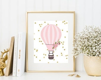 Hot Air Balloon Pink and Gold Glitter Digital Printable Baby Girl Nursery Decor
