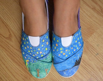 Lanterns, Tangled Hand-painted shoes.