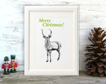 Christmas deer print, Black and white deer print, Merry Christmas, Printable wall art, Christmas decor