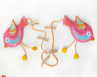 Birds Art Display Hanger, Two Pink Birds, Birds wall art, Paper Mache Birds, Girls Room Decor, Girls Art Display, Kids Photo Display