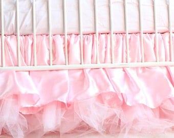 Pink Princess Crib Bedding / Ruffled Crib Skirt {FREE SHIP}