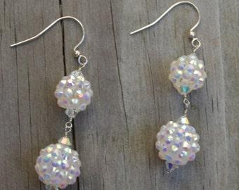 Disco Ball Earrings, Crystal Earrings, Iridesent Crystal Earrings, Crystal Ball Earrings