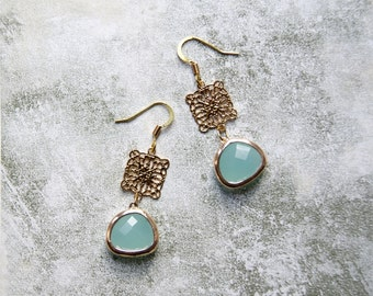 Gold Plated Aqua Glass Drop Earrings