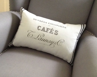 """Decorative Pillow 13"""" x 20""""/White Cotton and French """"Café"""" Vintage Decal/Black Stripes on Border with Fiber Fill Interior"""