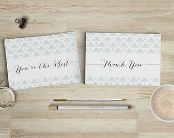 Printable Thank You Postcards // Mint, White & Black Thank You Notes with Calligraphy // Postcard Set of Four 4