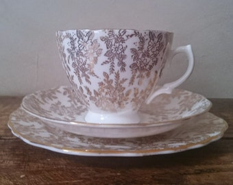 Vintage Royal Vale Bone China Gold White Filigree Teacup Saucer Side Plate Scalloped Edge 1950's Mid Century