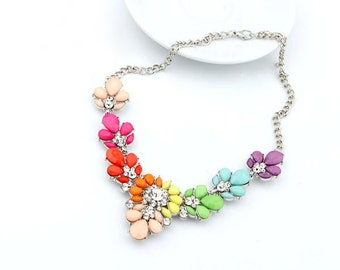 Rainbow Necklace, Bib Floral Necklace, Colorful Statement Beaded Rhinestone Necklace, Gift for Women, Statement Necklace, Gift for Moms
