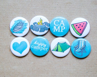 8 Summer Camp buttons -  camping magnets - stocking stuffers, project life, camping flair, tent buttons, camping badges