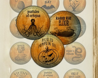 Printable Halloween Labels, Set of 12 Apothecary Labels for Halloween, Halloween Paper Crafts, labels, cupcake toppers