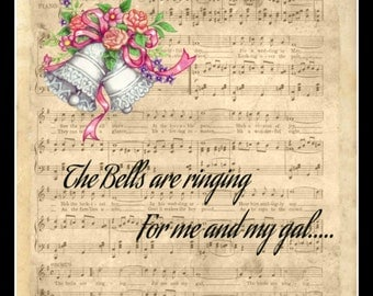 Printed Vintage Wedding Art Wall Decor With Music And The Bells Are Ringing