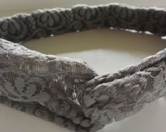 Gray Lace Flower Knotted Headband