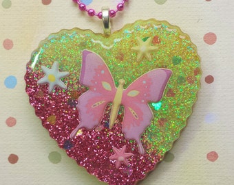Resin Butterfly Pendant, Resin Butterfly, Butterfly Resin Jewelry, Nature Jewelry, Butterfly Heart Pendant