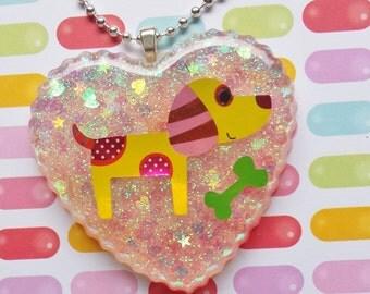 Dog Necklace, Dog Pendant, Resin Dog Pendant, Resin Dog Jewelry, Resin Animal Jewelry, Resin Heart Necklace