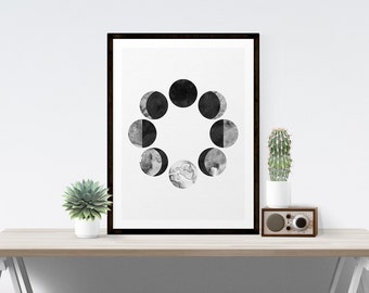 Moon Printable, Moon Phases, Black and White Moon Wall Art, Moon Calendar, Black Moon Art, Black Wall Art, Moon Printable