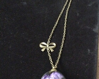 Glass Orb Necklace with Dark Puple Flower