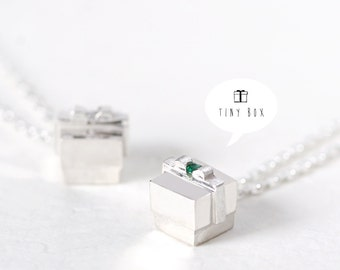 Box Necklace 925 Sterling Silver Miniature Cube Gift Ribbon Charm Birthday Pendant