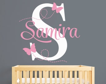 Butterflies Name Wall Decal - Girl Custom Name Decal - Girl Room Decor - Nursery Wall Decals - Animals Wall Decal Vinyl