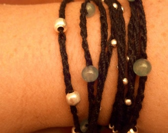 Women hand or foot, crochet chain and Beads Bracelet