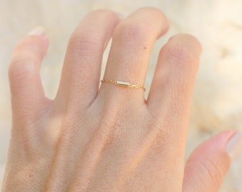 Thin Gold Chain Ring Dainty Rings Bar ring Chain Ring - Rings For Women delicate gold ring