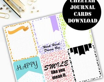 Cheetah Print Journaling Card Printable / Journal Cards / Scrapbook Kit / Journaling List / Listers Gotta List / Instant Download 00073