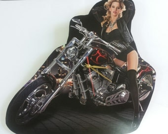 Handmade Wall Clock / Motorcycles Wall Clock / Erotic Wall Clock / Chopper Wall Clock / Chopper Motorcycles Clock / Gift Idea