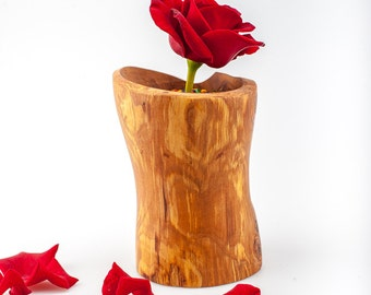 Wooden vase Carved vase Home decor Wood art
