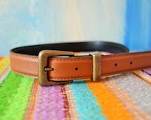 Basic Brown Vegan Belt // Faux Leather Belt // Vintage Pleather Belt // Beautiful Vintage Condition / Size 6 Petite / Lovely Wardrobe Staple