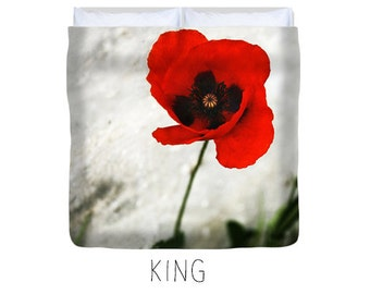 Poppy duvet, poppy bedding, poppy decor, red bedroom decor, floral duvet, flower duvet, poppies decor, red flower, poppy bed, nature decor
