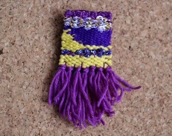Purple and Yellow Woven Brooch
