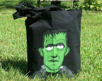 Frankenstein Halloween Trick or Treat Bag/Tote Hand Painted