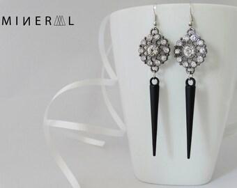 Black spike earrings