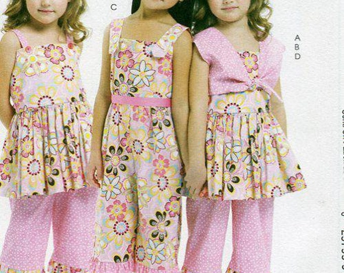 FREE US SHIP McCall's 6064 Ruffles Lace Girl's Dress Jumpsuit Bolero 2010 Sewing Pattern Out of Print Size 2 3 4 5
