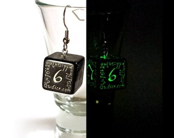 Glow-in-the-dark D6 Elvish Dice Earrings