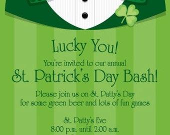 St Patricks Day, St Patricks Day Invitation, St Patricks Day Invite, Leprechaun, Irish Invitation, Shamrock, Invitation, Printable Invite