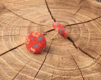 Orange with floral design fabric button earrings