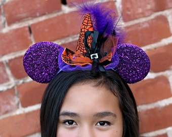 ON SALE Happy Halloween! Witch Hat on a Minnie Mouse ears Headband or Alligator