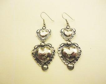 Lovley Vintage Heart Earrings . Silver Toned . Hook Earrings . Era. 1960's