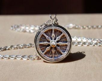 Handmade Dharma Wheel Chakra Necklace, Buddhist Wheel pendant gift for Her Him, Sacred geometry, nekel free jewelry