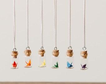 Miniature origami crane in a bottle - necklace