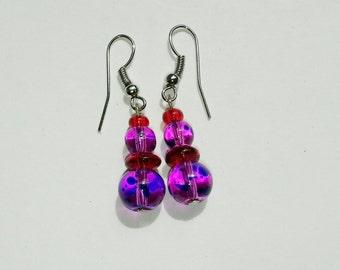 Purple & Red Beaded Earrings